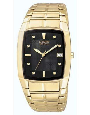 Mens Citizen Eco-Drive Crystal Watch BM6552-52E , Gold