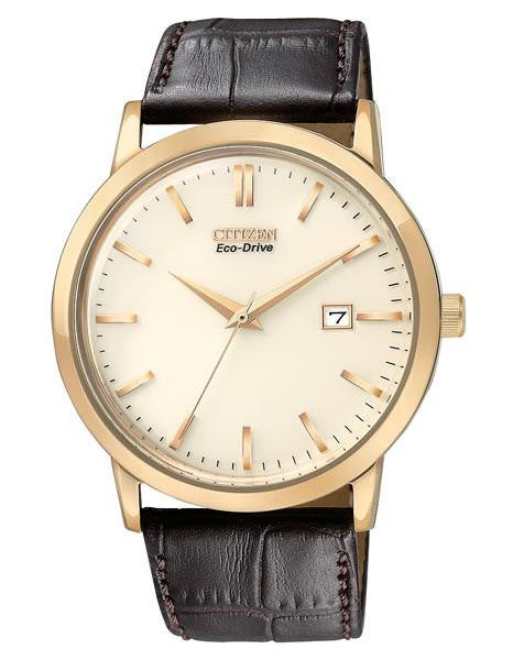 Citizen Eco drive mens strap rose tone with champagne dial BM7193-07B