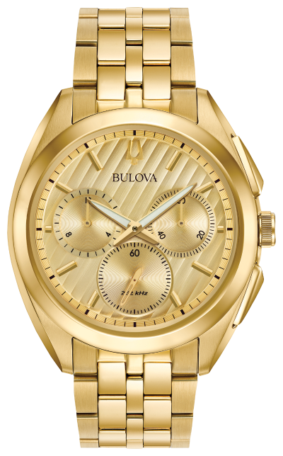 Bulova CURV Chronograph Gold-Tone Stainless Steel Watch 97A125