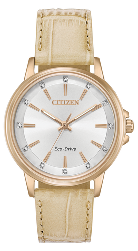 Citizen Women's Eco-Drive Leather Rose tone FE7033-08A   Chandler