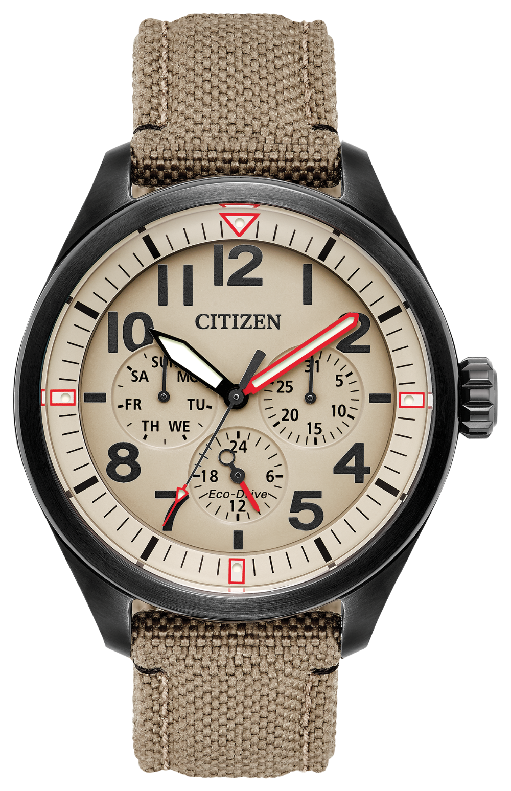 Citizen Eco Drive Chandler Black on Tan corduta  strap BU2055-08X