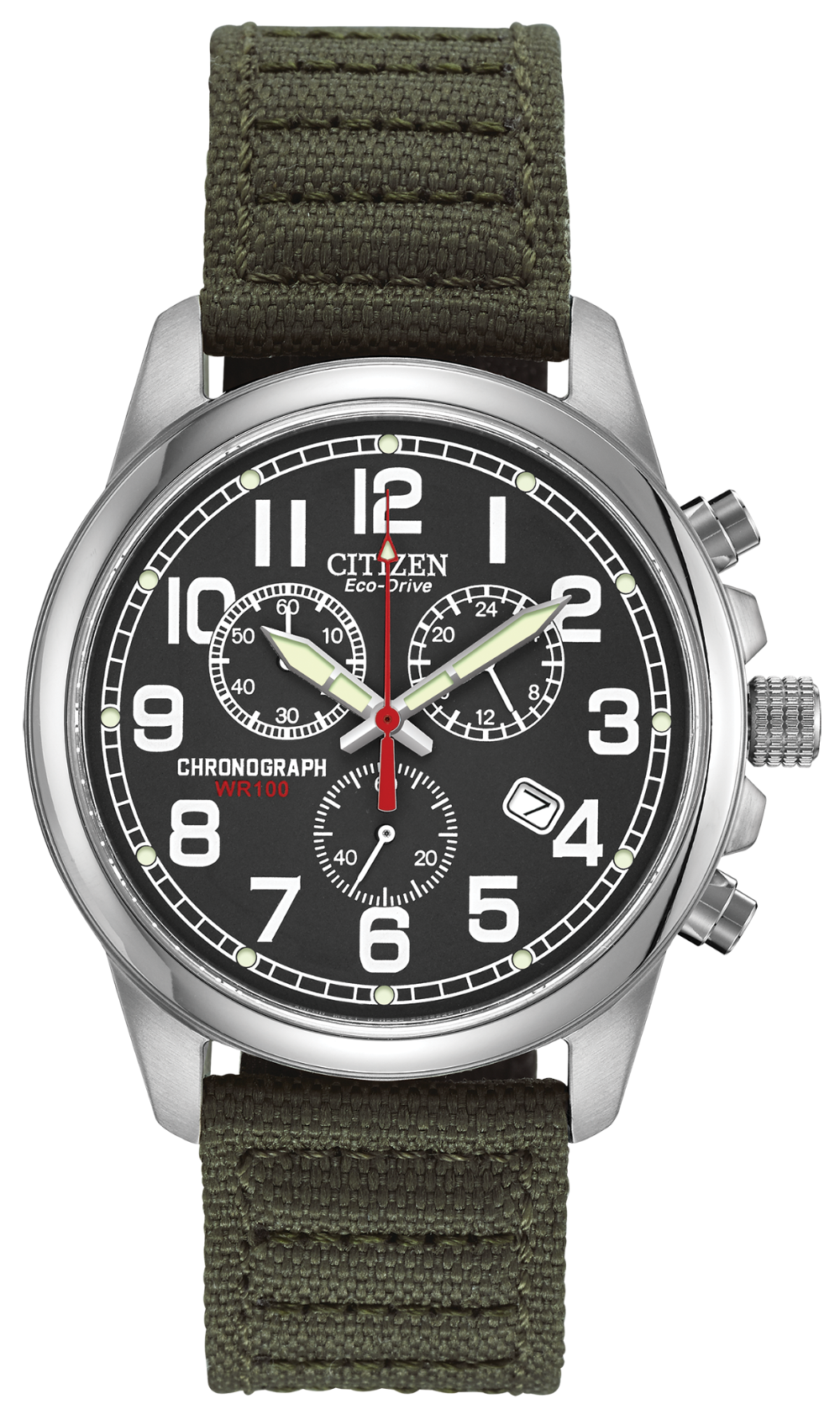 Citizen Eco Drive Chandler Black on olive Nylon strap AT0200-05E