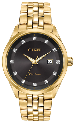 Citizen Stainless Steel Gold Tone Black Diamond Dial Corso BM7252-51G
