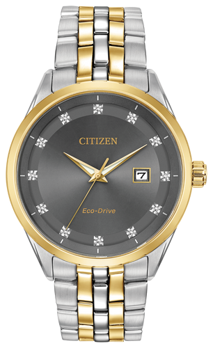 Citizen Stainless Steel and Gold Tone Gray Diamond Dial Corso BM7258-54H