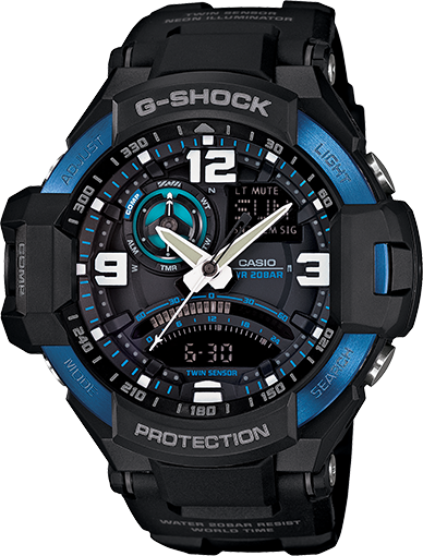 Casio G Shock Men s Aviation Series GA1000 2B Black Analog Digital Watch