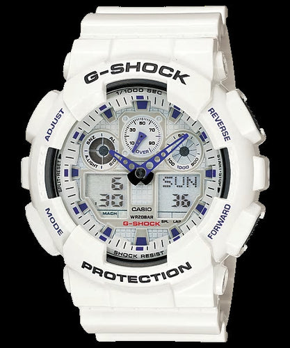 Gshock White digital and analog GA100A-7A