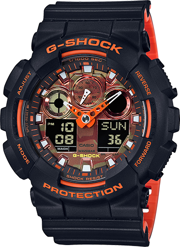 GA100BR-1A Gshock Black and Orange