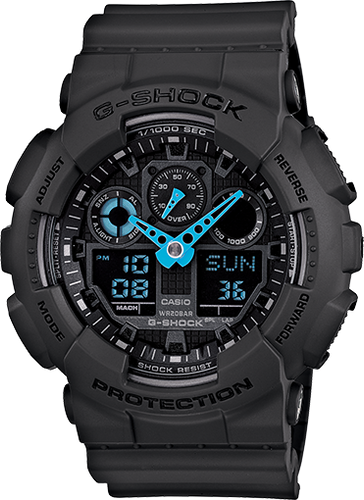 Gshock Black and Blue hand GA100C-8A