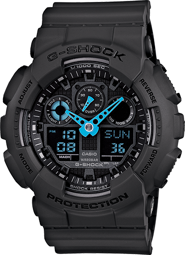 Casio G-Shock GA-100C-8ACR Analog-Digital Resin Watch (Grey/Neon Blue)