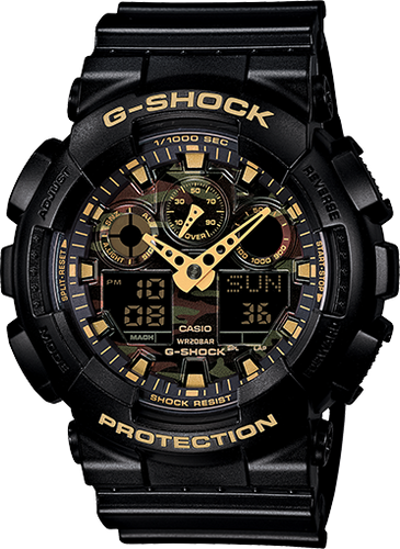 Gshock black and gold with camo interior
