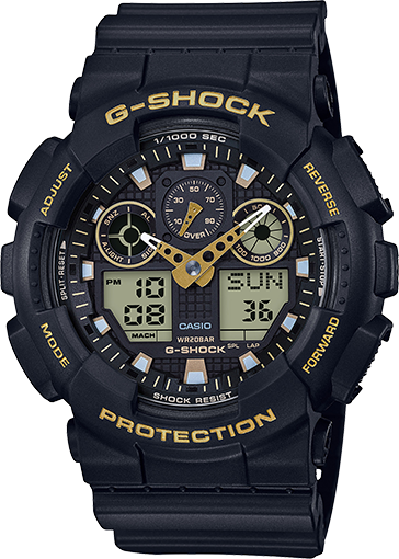 Men's Casio G-Shock Analog-Digital Black Strap Watch GA100GBX-1A9