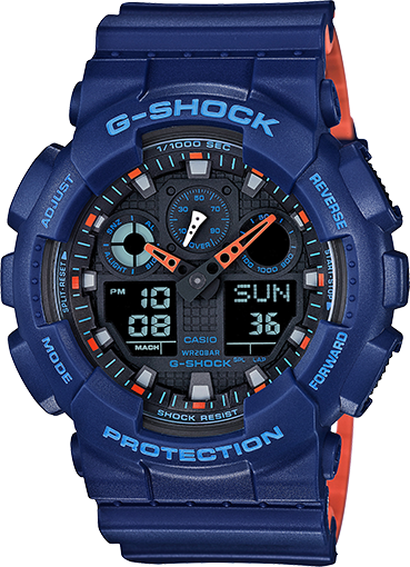 Gshock Blue and Orange GA100L-2A