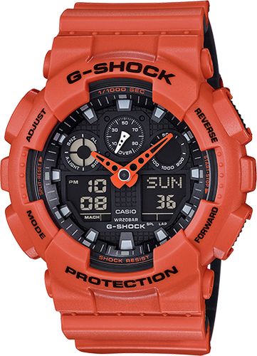 Casio Men's G-Shock GA100L-4A Orange Silicone Quartz Watch