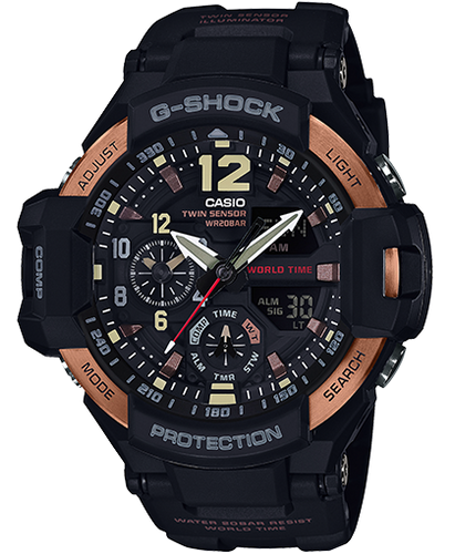 Men's Casio G-Shock Gravitymaster Black and Rose Gold-Tone Watch GA1100RG-1A