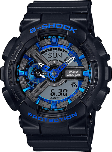 Casio G-Shock Black and Blue Ana-Digi Sports Watch GA110CB-1A