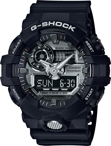 Men's Casio G-Shock GA700 Black and Silver-Tone Resin Watch GA710-1A