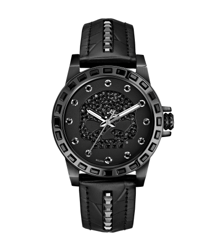 Harley-Davidson® Womens 78L126 Willie G Skull with Swarovski® Crystals Croco Embossed Strap Watch  By Bulova