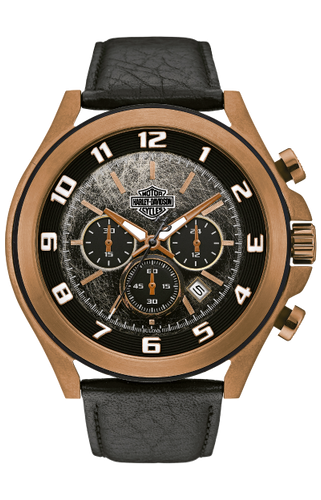 Harley-Davidson® Mens 78B148 B&S Textured Bezel Chronograph with Leather Strap Watch By Bulova
