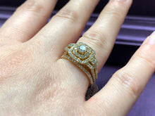 14kt yellow and 1.00ctw  with 2 halo plus wedding band with round diamonds and yellow gold
