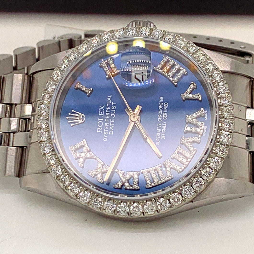 Rolex 16014 Stainless Steel 36mm Blue Roman numeral Diamond dial with diamond bezel