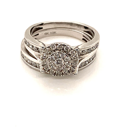 10k White Gold 1ctw Ladies Diamond Wedding Set