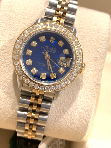 Rolex Ladies Datejust 6916 Diamond Bezel Blue Mother of Pearl Diamond dial