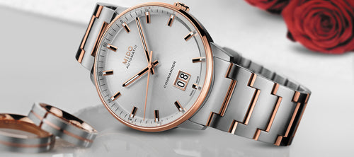 Mido Commander Big Date Stainless Steel Rose gold tone 42mm Siler Dial M0216262203100