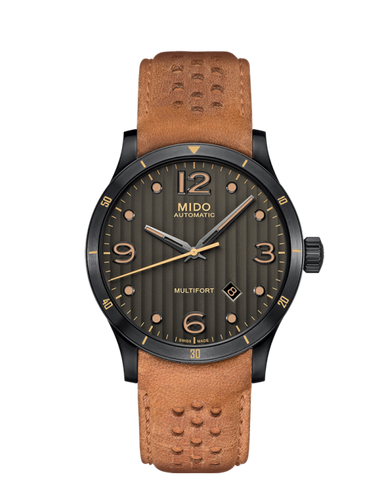 Mido 42mm Multifort Authomatic Anthracite Dial Tan Leather M0254073606110