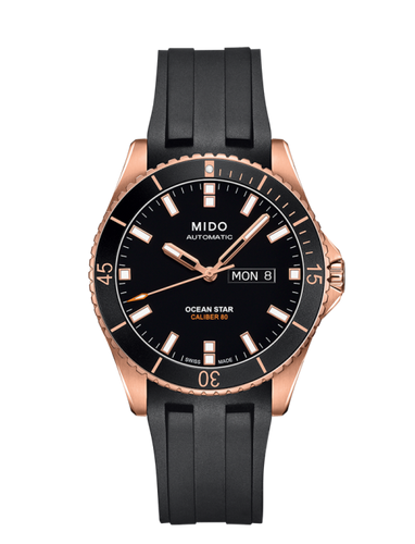 Mido 42.5mm Ocean Star Authomatic Black Dial with Rose gold case Rubber Strap M0264303705100