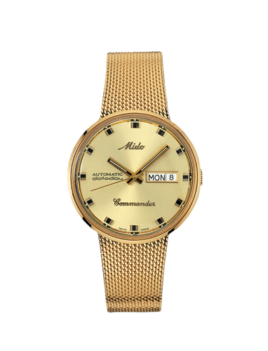 Mido Commander gold tone 37mm Gold Dial M842932213