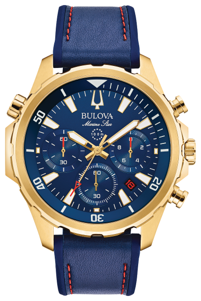 Bulova Marine Star 97B168 Blue Band Red Stitching