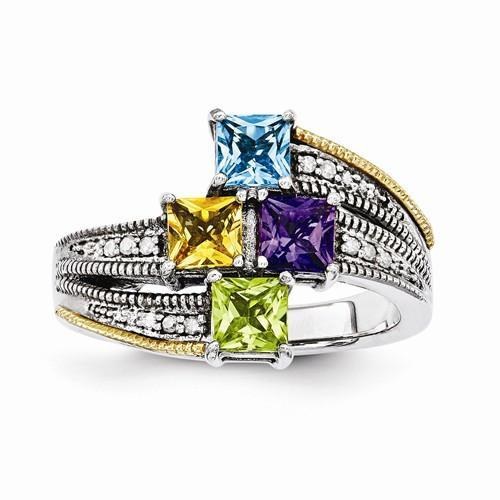 Sterling Silver & 14k Four-Stone And Diamond Mother's Ring - AydinsJewelry