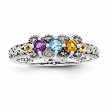 Sterling Silver & 14k Three-Stone And Diamond Mother's Ring - AydinsJewelry