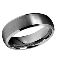 Tungsten 8mm domed bevel edge wedding band