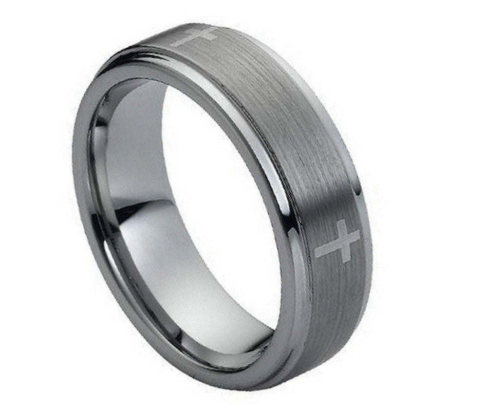 Tungsten Carbide Cross Band 7mm