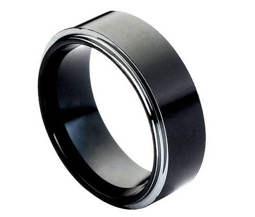Black Tungsten Carbide Flat Wedding band 8mm