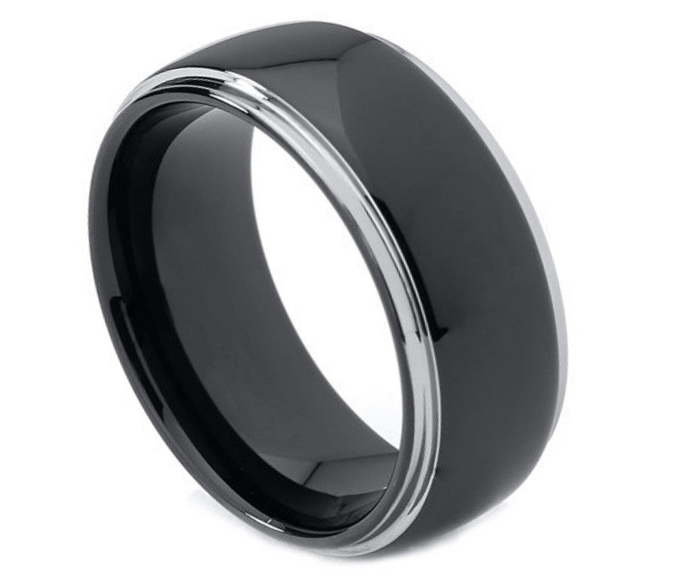 Tungsten Carbide 8mm grooved edge Wedding Band