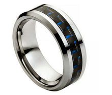 Tungsten Carbide Wedding band with blue Carbon Fiber Inlay