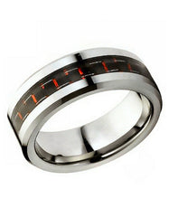 Tungsten Carbide Wedding band with Red Inlay