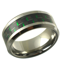 Tungsten Carbide Wedding band with Green Inlay 9mm