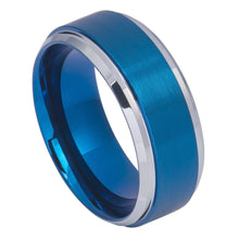 Tungsten blue ip Plated wedding band 9mm