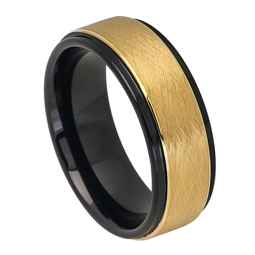 Tungsten Carbide 8mm Wedding Band Two Tone Black And Gold Monica