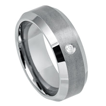 Tungsten Brushed Bevel Edge band with white crystal stone 8mm