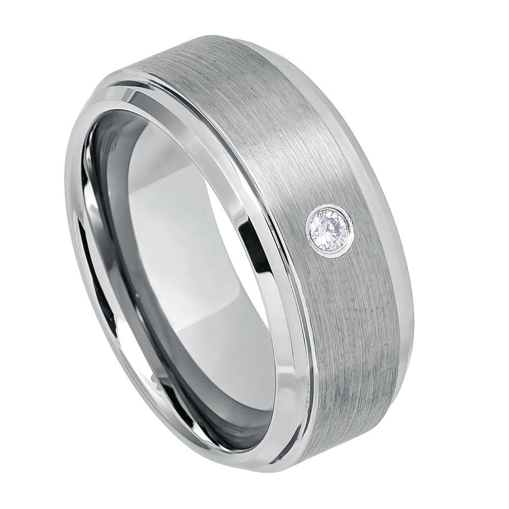 9mm Tungsten Carbide Wedding band with White Crystal