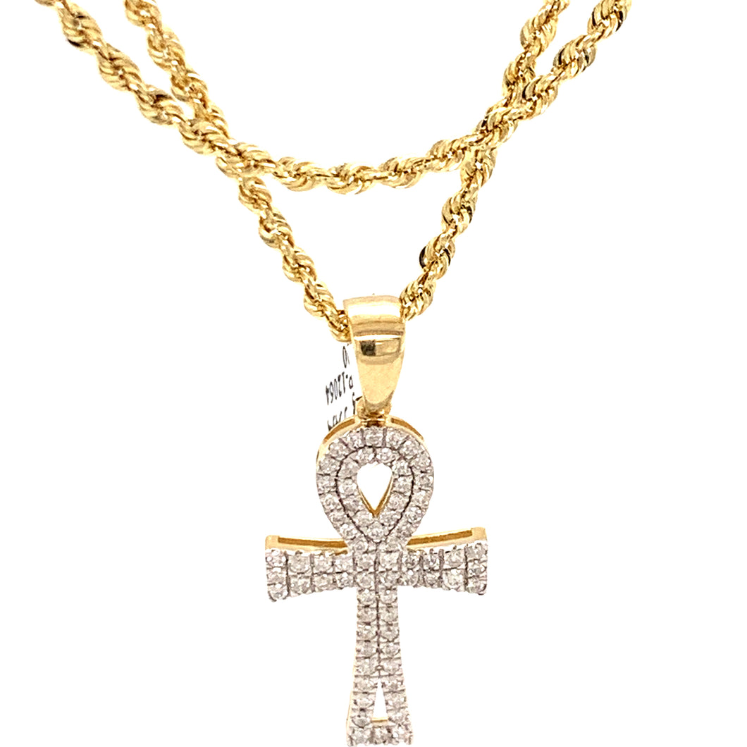 10k Yellow Gold and diamond Ankh Pendant with chain