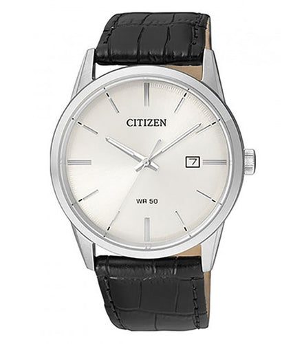 Citizen Men's Quartz Case And Black Leather Strap Watch