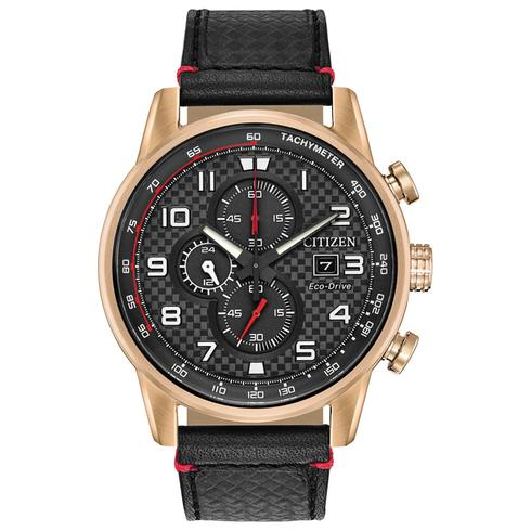 Citizen CA0683-08E black Dial stainless steel on leather band Eco Drive