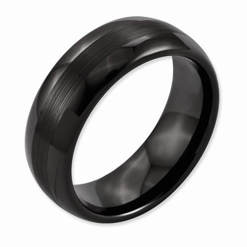 Ceramic Black 8mm Brushed & Polished Domed Band - AydinsJewelry