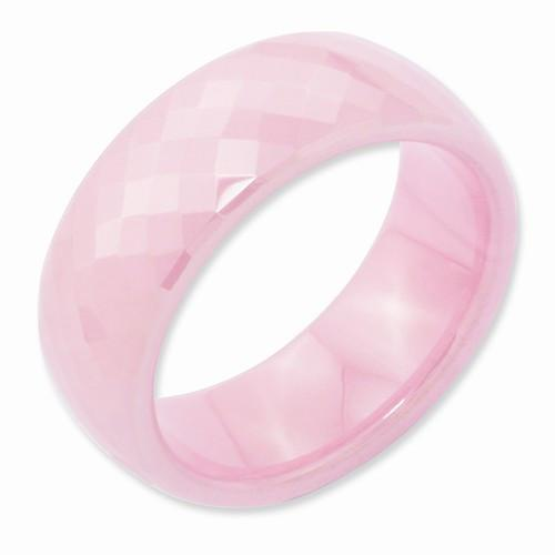 Pink Ceramic Faceted 7.5mm Polished Band - AydinsJewelry