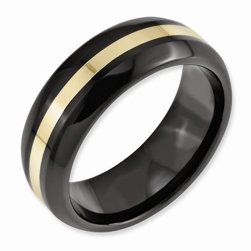 Black Ceramic W/ 14k Inlay 8mm Polished Band - AydinsJewelry